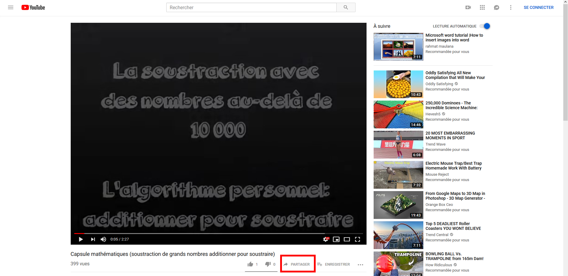 Bouton Partager dans Youtube
